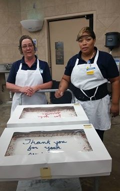 Walmart thanks Macedonia Police and Fire Departments with Cake