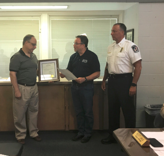 Officer Paul Valore retires and two part time police officers join the ranks