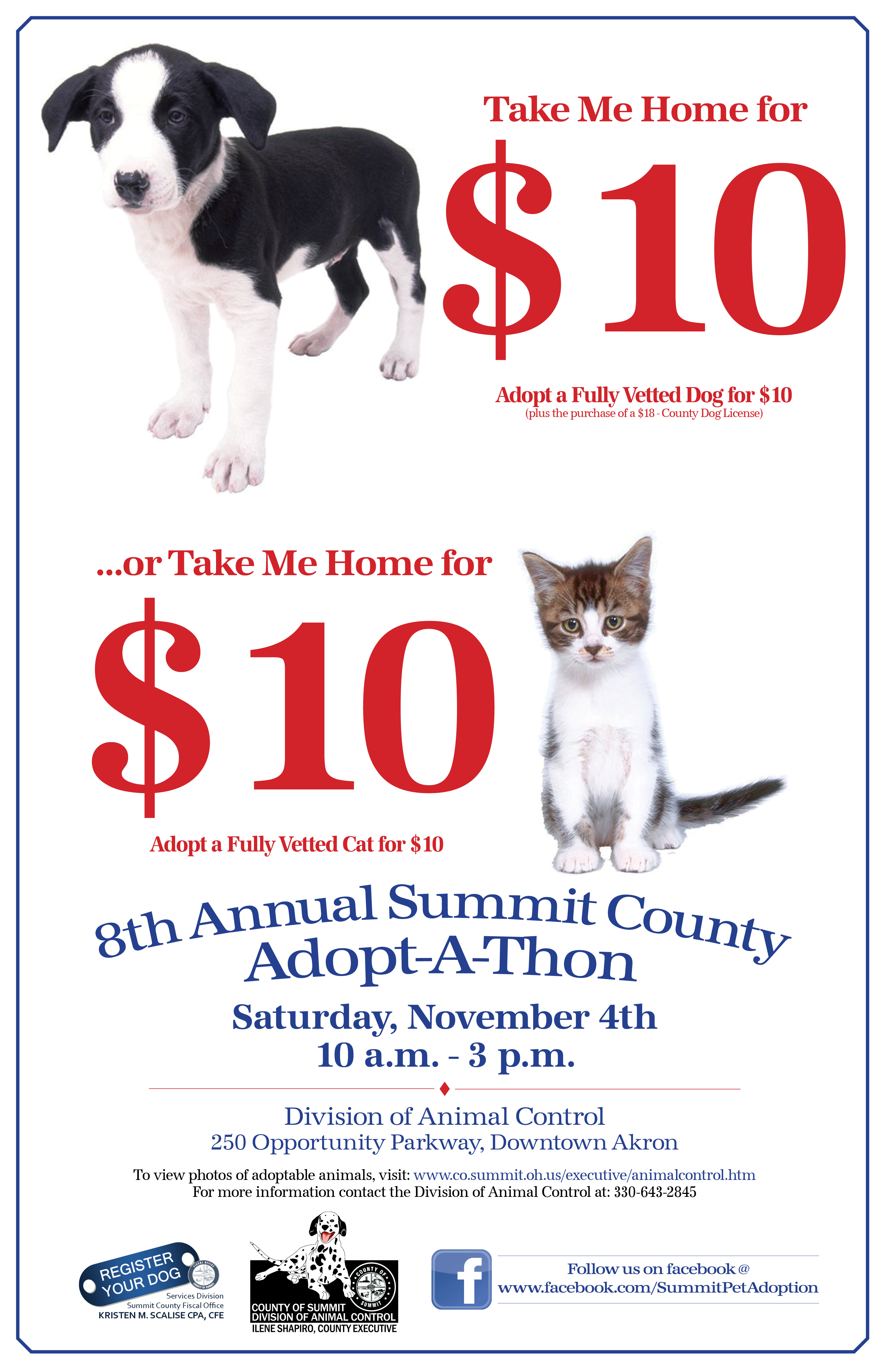 Summit County Animal Control to Hold Adopt-A-Thon on November 4, 2017