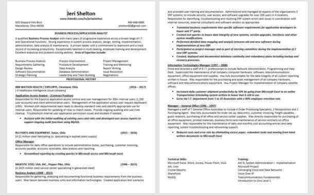 Resume: Jeri Shelton - Business Process/Application Analyst