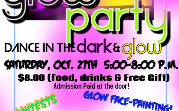 Dance in the Dark Glow Party for 2nd Graders to 6th Graders This Saturday, Oct 27 5-8pm